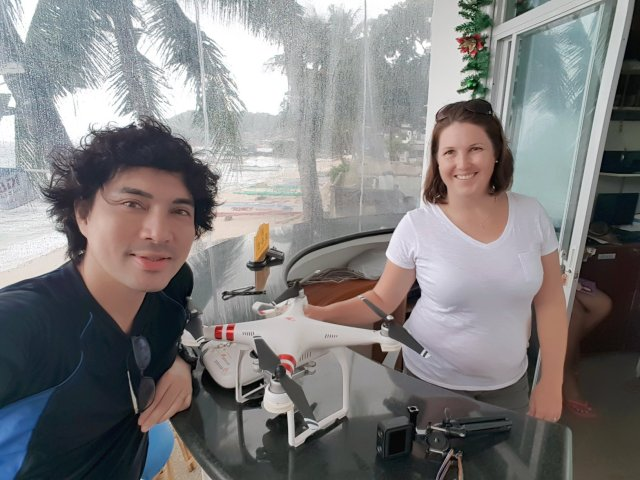 Me with Amy Magsino while waiting for the rain to stop so I can fly my drone and take amazing aerial footage of the Puerto Galera.