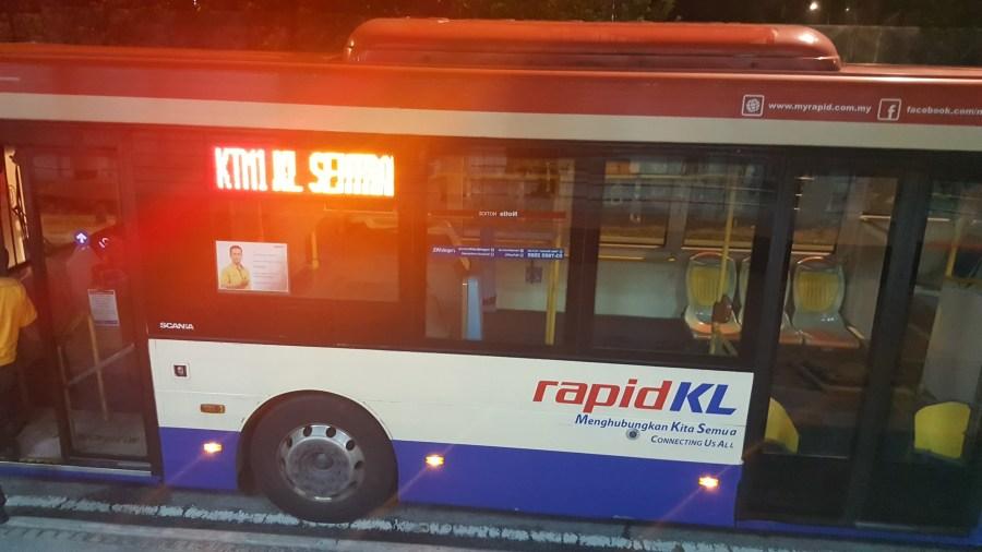 Rapid KL Bus to Sentul Station from KL Sentral