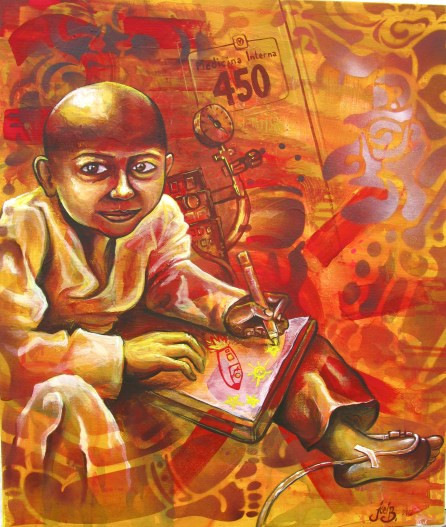 """""""Niño con Cáncer"""" 2012. Acrylic and spray paint on canvas. 16″ x 32″ painted in Mexico City. Commissioned by the organization IRRI (Istituto Internacional de Recursos Renovables)"""