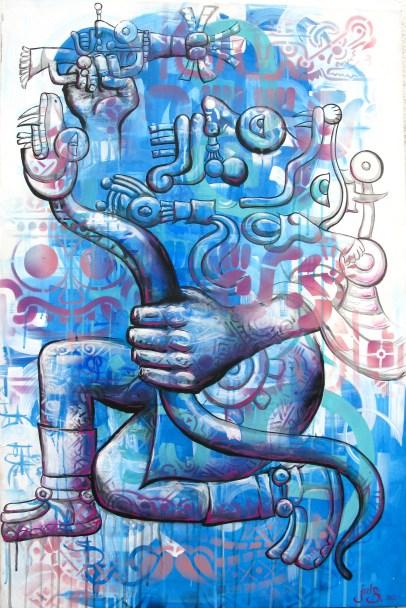 "Mexico, 2012: ""Tla-Loc"" the Aztec rain god: work on canvas: from a series for the Mexican organization IRRI: Istituto Internacional de Recursos Renovables"