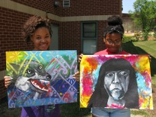 Joel's students at the Boys & Girls Club's Teen Arts & Performance (TAP) Camp show off their work created in workshops.