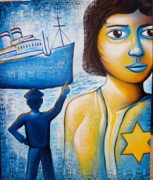 """""""The Voyage of the St. Louis"""" on canvas was created for the US Committee for Refugees and Immigrants as part of a poster series."""