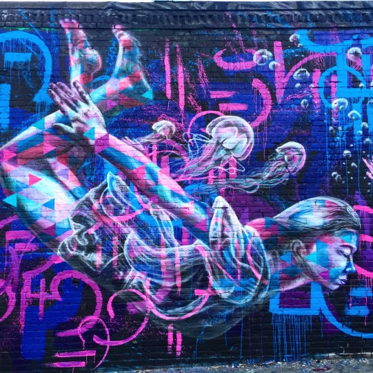 Queens, New York 2016: Collabo with Chris Soria and Marc Evan for the Welling Court Mural Festival