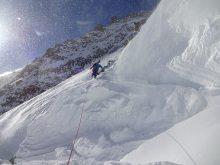crossing the bergschrund