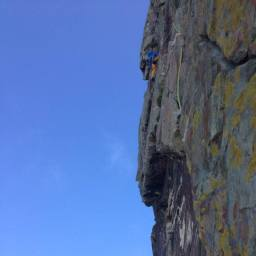 Dave leading the climb