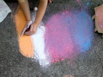 Shaping the chalk.