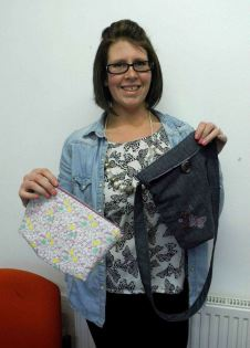 Janine with her finished bags