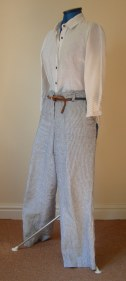 white and navy stripe trousers