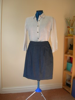 denim skirt & white linen shirt