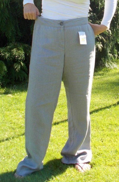 grey linen Sanwich trousers - before