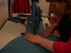 sarah sewing on industrial