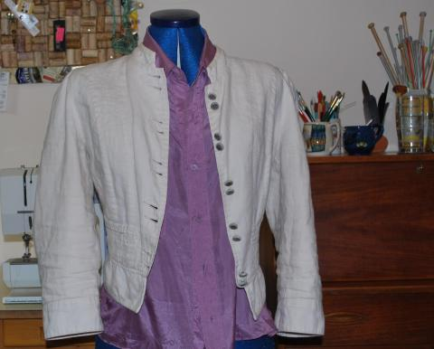 cream jacket and upcycled silk blouse