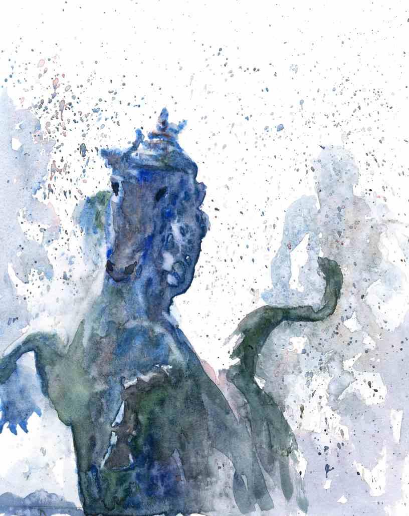 cheval quiconces, aquarelle de joel Tenzin, watercolor Joel Tenzin