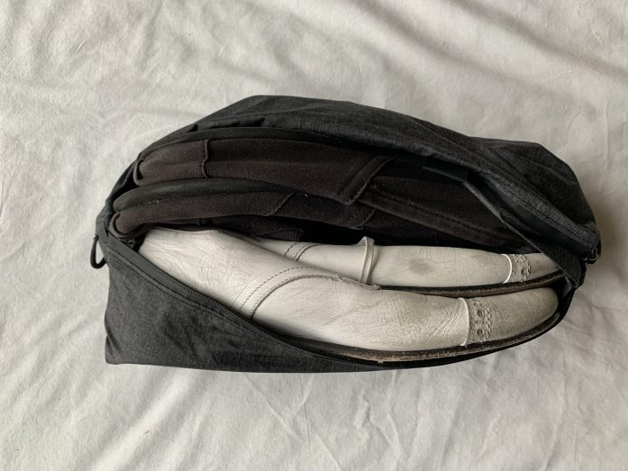 Shoe bag, including two pairs of shoes, that lived at the bottom of my backpack.