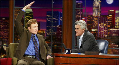 Conan O'Brien, left, and Jay Leno on the set of The Tonight Show when Mr. Leno was the host.