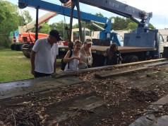John Van Dyk, Antonette Walford, Viv Van Dyk, and Bridgett Brown gazing upon the multitude of Tawny crazy ants nesting under lumber on a flatbed truck
