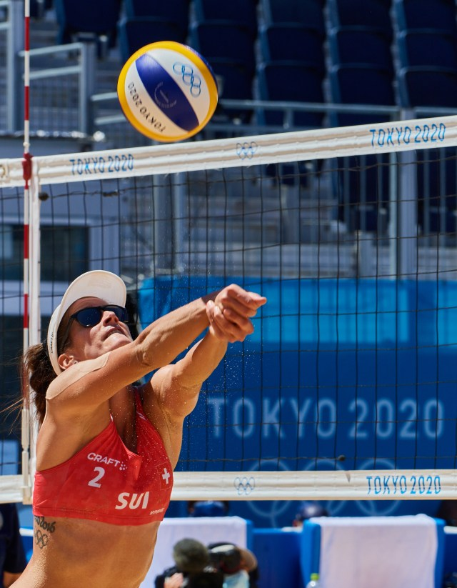 Photograph of Joana Heidrich from Team Switzerland at the bronze medal match for the women's beach volleyball competition during the Tokyo 2020 Olympics.