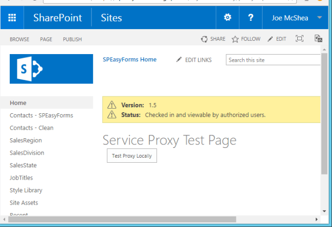 Service Proxy Test Page