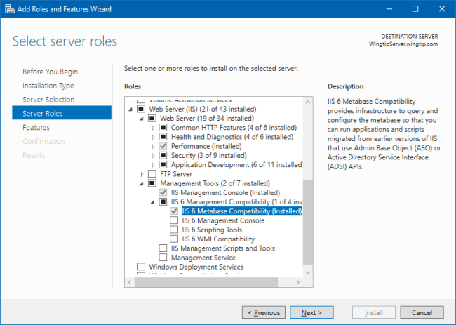 Add Roles and Features Wizard: IIS 6 Metabase Compatibility