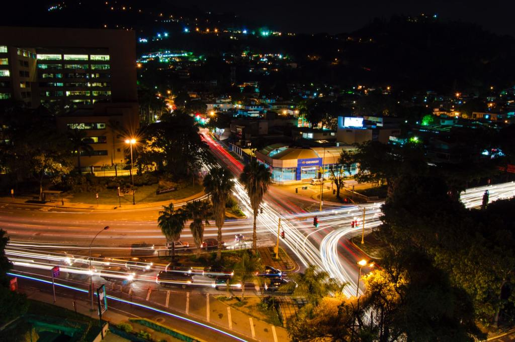 Time lapse photography of city street