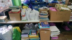 The books sent by my church at the Baptist training Center in Belize, ready to be transferred to Heart House.
