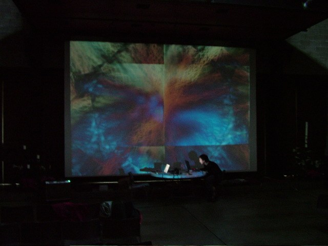 Example of live improvisatory video and sound performance