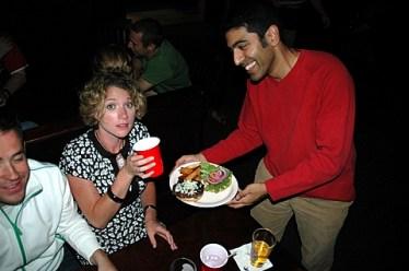 Sid serves burger
