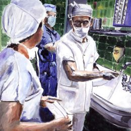 painting shows surgeon scrubbing hands before performing surgery