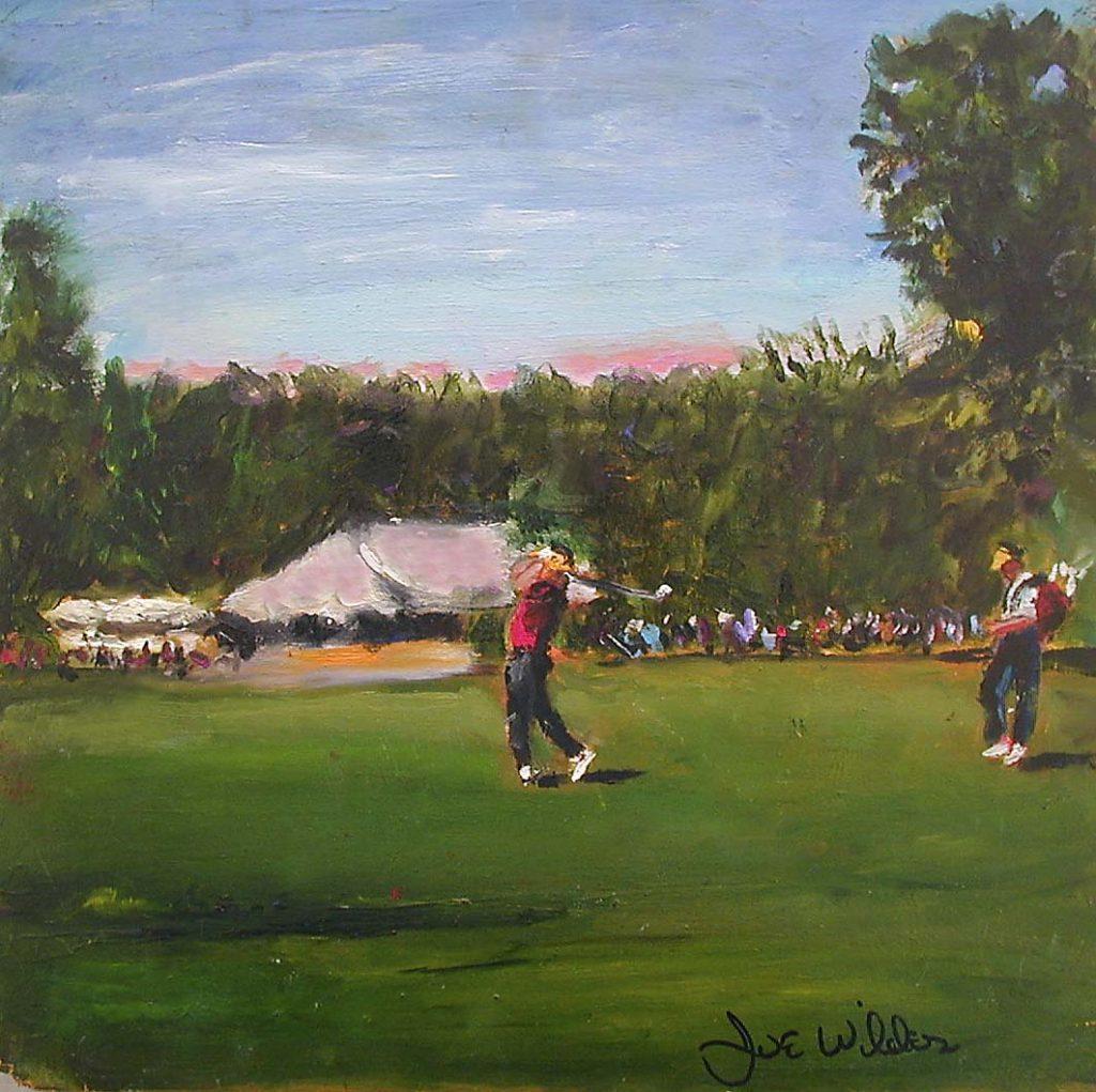 Golfer Swings going for the green