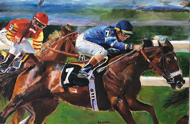 Jockey Riding Thoroughbred Race Horse Digital Print For Wall Art