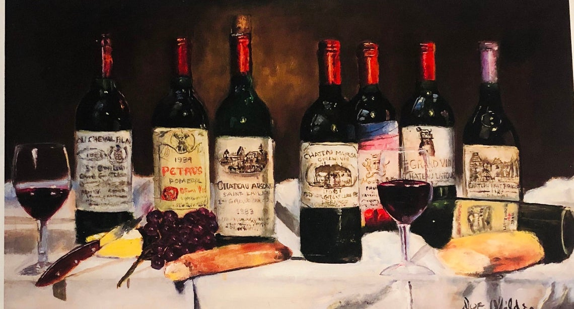 Wine Bottle Lithograph
