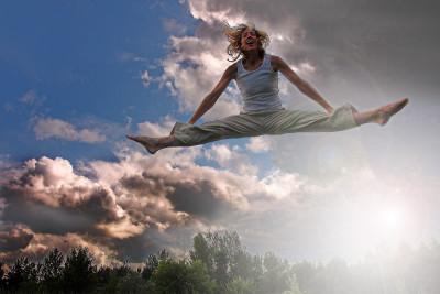 Man doing splits in air