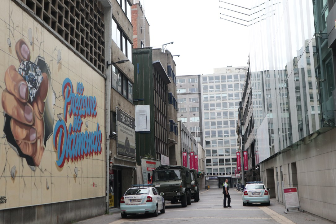 The diamond district is perhaps the most secure place in Antwerp where cameras see you like Big Brother.