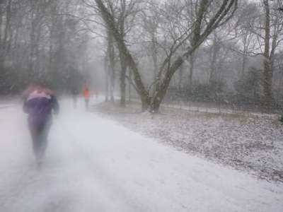 Running in a blizzard