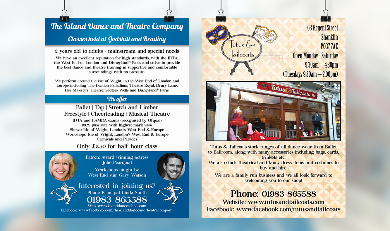 The Island Dance and Theatre Company and Tutus and Tailcoats Flyer