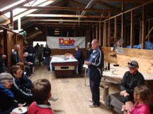 Alister handling the prize-giving in the woolshed.
