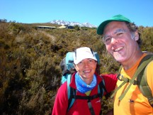 Still fresh and all smiles. Mt Ruapehu in the back.