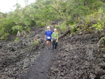 Taking a walk break up a small hill.