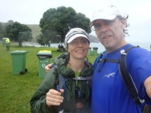 Happy with our complimentary Speight's Traverse beers at the finish.
