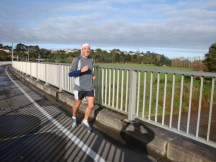 Gerry, flying over the Manawatu River bridge on Fitzherbert Avenue.