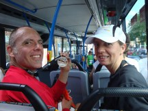 In the bus on our way back to Willie's car. Gerry chuffed with his medal!