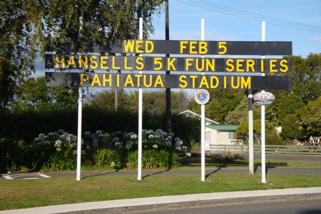 Upon entering Pahiatua, you're greeted by a large sign advertising the 5km series.