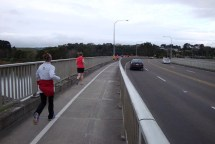 Crossing the Manawatu Bridge on our way to Massey Uni.