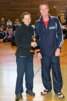 At the prize-giving with Club President Kevin Palmer. I was very surprised to have won the club female Handicap Cup. [Photo courtesy of Rob Weir, Manawatu Striders]