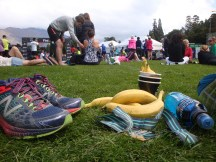Chilling in the finish zone with bananas, water, Powerade and a happy grin.