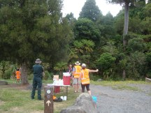 The second water point about 2km from the finish.