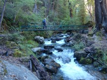 The fast-flowing stream is crossed via a sturdy footbridge.