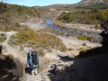 After passing the Waihohonu hut, the path back towards Whakapapa meanders along a stream for a few kilometres.