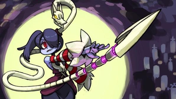 Squigly, personagem de DLC, é uma cantora de opera morta-viva que voltou à vida por meio do parasita Leviathan.