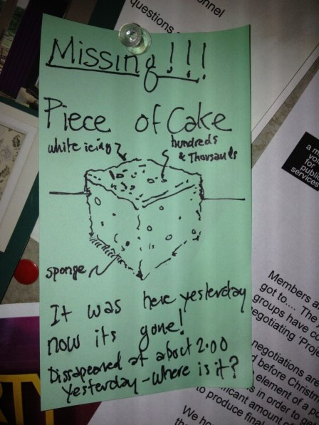 A piece of cake - lost and found art